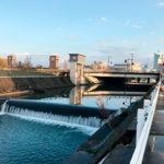 いたち川取水堰と取水口(富山市)